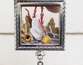 Dried Flowers Bee Nature Locket Hanging Charms Silver Tone Jewelry Necklace