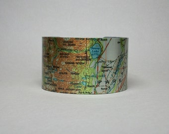 Grand Teton Wyoming Jenny Lake Cascade Canyon Cuff Bracelet Unique Hiker Camping Gift for Men or Women