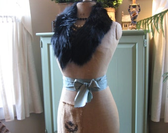 Beautiful Black Genuine Fur Collar Old Hollywood Glam Style!