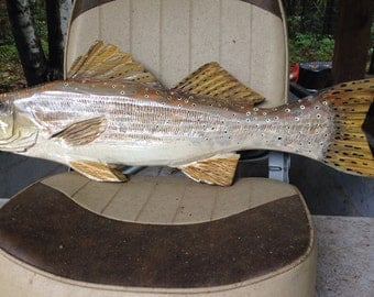 """Speckled Seatrout 27"""" chainsaw wood trophy decorative fish carving spotted seatrout inshore fishing decor original Todd Lynd wall mount art"""