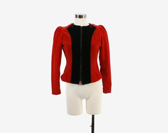 Vintage 40s JACKET / 1940s Red & Black Velvet Puff Sleeve Zip Front Skating Jacket xs - s