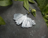 Ginkgo biloba with Mossy Vesuvianite -  Silver Clay Real Botanical Leaf Statement Pendant  by Quintessential Arts