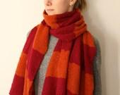 Stripy Cherry/Rust pure cashmere big scarf