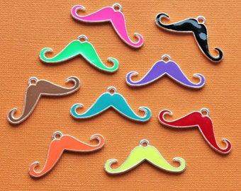 5 Moustache Charms Beautiful Enamel Assorted Colors Bright and Fun - E82