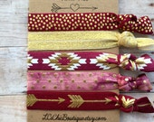 Boutique Elastic  Hair Ties FSU garnet and gold 5 pack - awesome gift game day