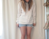 vintage pullover light white cream sweater, small-large (oversized)
