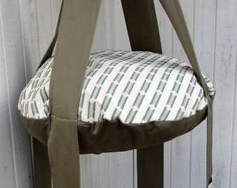 Cat Bed Shell Stripe & Khaki Double Hanging Cat Bed, Kitty Cloud, Pet Furniture, Gift