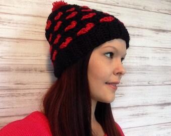 Heart Slouchy Hat, Fits ages 10 to Women, Crochet Slouch Hat, Pom Pom Hat, Teen Hat, Winter Hat