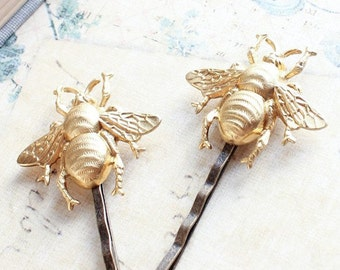 Bee Bobby Pins Gold Honey Bees Raw Brass Bumblebee Hair Pin Woodland Wedding Insect Hair Accessories Garden Nature Inspired Bridesmaids Gift