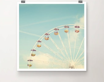 Merry Go Round - Fine Art Print of a vintage Ferris Wheel in front of turquoise summer sky