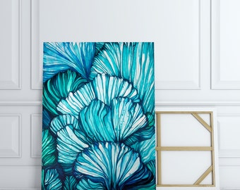 Large Abstract ORIGINAL Painting, Abstract Nature, Marine Blue Teal Painting, Acrylic Ink Painting, Sealife Line Painting