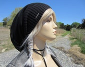 Extra Long Back Tam Big Thick Knitted Womens Black Slouch Beanie Bohemian Style Slouchy Hat Baggy Winter Beanies A1707 / A1549
