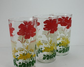 Vintage Swanky Swig Drinking Glasses Flower Tumblers Juice Glasses Anchor Hocking Mid Century Modern Barware Set of 3