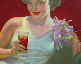 Original Genuine Coca Cola Coke Metal Serving Tray White Evening Gown Girl American Art Works 1936 Soft Drink Advertising Collectible
