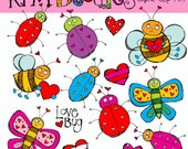 KPM Valentine Bugs digital clip art