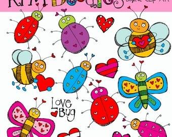 KPM Valentine Bugs COMBO digital clip art