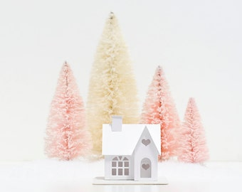 Valentine Putz House DIY Kit Victorian Glitter House Decoration Paper Craft Kit Winter Home Decor Winter Wedding Decor