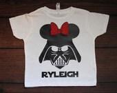 Minnie Vader Shirt with customized name Minnie Inspired Star Wars Shirt Disneyland Disney World Ears - TODDLER sizes