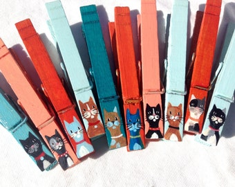 CAT CLOTHESPINS painted orange teal blue magnetic pegs veterinarian gift cat sitter party favor
