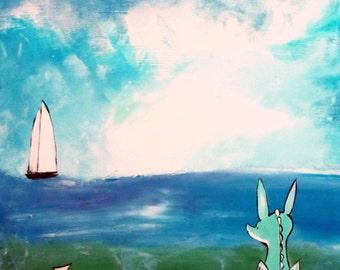 Dragon Art Print, Kids Wall Art Nursery Decor, Fairy Tale Storybook Children's Art