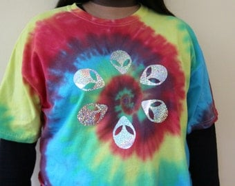 Super Rad Hologram Alien Tie dye Crop Top