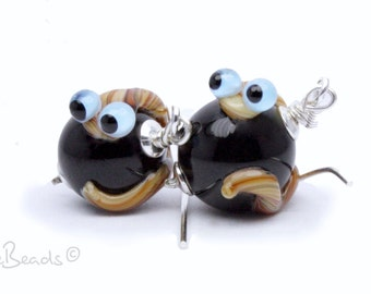 Lampwork Earrings Worms,  Silver 925