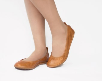 Ballet flats - Eko in Glorious Wheat - Handmade Leather ballerinas - Barefoot type - Minimalistic soles and CUSTOM FIT