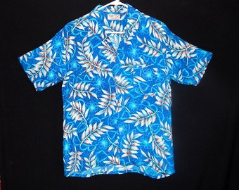 Exotic vintage 40's 50's blue white red leaves flowers rayon Hawaiian men shirt Tiki atomic abstract rockabilly MCM by Surf & Sun Japan - M