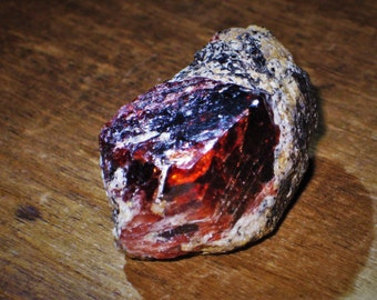 HUGE Blood Red Natural Euhedral Zircon in its Matrix - Nightmare Protection, Astral Travel, Grounding, Aura Cleansing, Wisdom, Wealth, Love