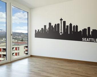 Seattle City Skyline Wall Decal   Urban Wall Sticker Part 44