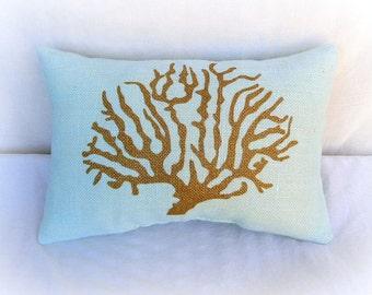 Lumbar Burlap Pillow, Mint Green with Gold Coral Reef