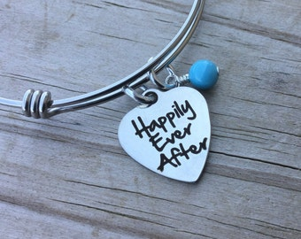 """Happily Ever After Charm Bracelet- """"Happily Ever After"""" laser etched charm with accent bead of you choice"""