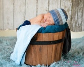 Crochet Baby Boy Beanie Newborn to 5T Hat Soft Blue/Heather Grey/Country Blue - MADE TO Order