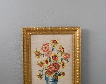oversized framed vintage sunflowers embroidery needlepoint tapestry wall hanging picture / flower crewl / cross stitch