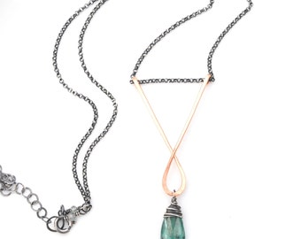 Green Kyanite Necklace, Mixed Metal Green Kyanite Pendant Necklace, Rose Gold & Oxidized Silver Necklace