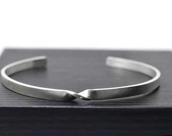 Silver Mobius Cuff, Adjustable Sterling Bangle for Men & Women, Polished Mobius Twist Bracelet, Science Jewelry