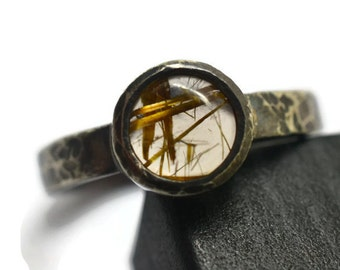Gold Rutile Quartz Ring, Natural Rutilated Quartz Gemstone Ring, Rustic Oxidized Silver Ring, Blackened Silver Statement Jewelry