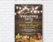 Rustic Fall, autumn , Fall housewarming party invitation, New house,  home sweet home, housewarming - card 1001