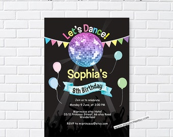 Disco birthday invitation, Disco ball design, Glitter invitation for any age 6th 7th 8th 9th 10th 16th 18th 30th 40th 50th 60th  - card 1049