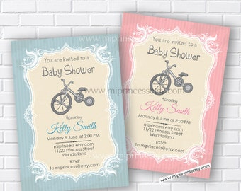 Vintage Bicycle Baby Shower Invitation Baby boy shower baby girl Retro Baby birthday Invitation party  2color to choose from- card 110