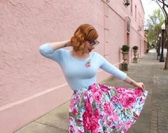 Custom made floral skirt,Purple Flowers skirt, midi skirt