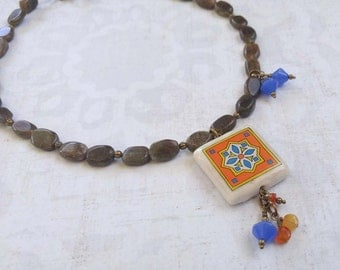 Orange and Blue Spanish Tile, Catalina Island, Mexican and Mediterranean Tile Inspired Glass and Antique Brass Necklace 1013