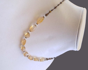 Yellow Amber Colored Faceted Citrine and Moonstone Gemstones on Gold-Plated Brass Chain Necklace