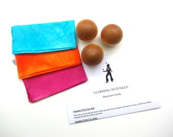 DELUXE JUGGLING SET 3 Wooden Juggling Balls and 3 Silk Scarves, Learn To Juggle Waldorf Toy