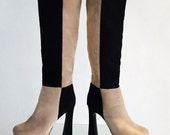 90's does 70's Chunky Checker Black and Tan Suede Platform Knee Boots // 7.5