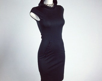 90's Sporty Spice Hooded Black Dress // S - M