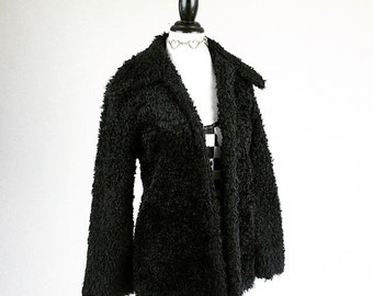 90's Black Shaggy Faux Fur Mid Length Jacket // S
