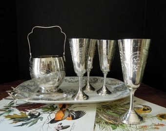 Four Vintage Silver Plate Goblets / Wine Glasses / Ice Tongs / Ice Bucket / Wedding