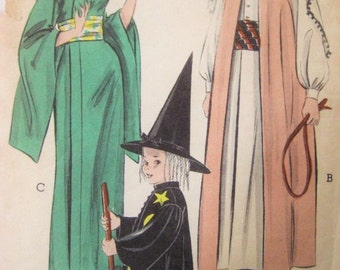 Vintage Butterick 6343 Sewing Pattern, CHILD Costume Pattern, Halloween Costume, Witch Costume, Kimono, Sheik, Child Size 6 - 8, 50s Costume