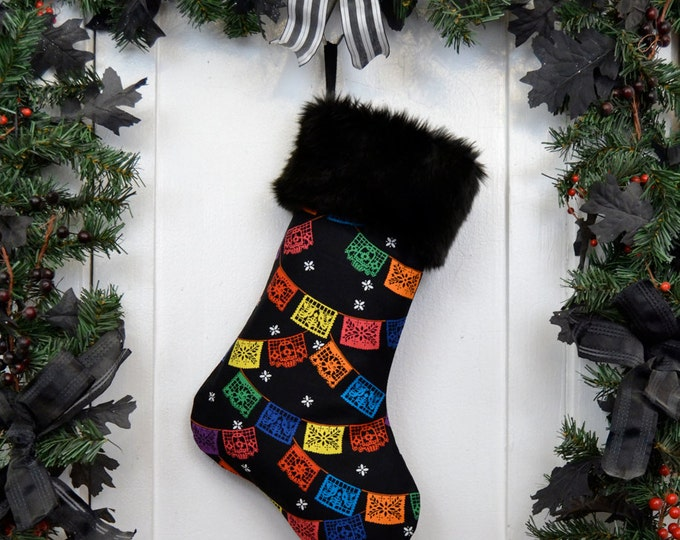 Papel Picado Mexican Prayer Flags Christmas Stocking